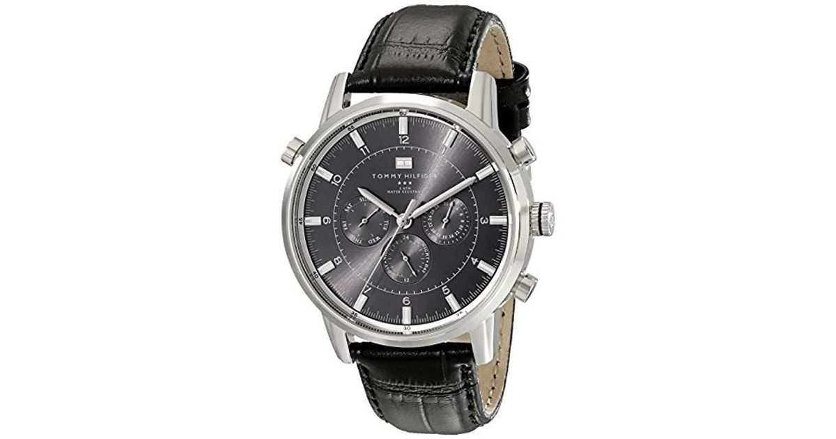 e281a789d Tommy Hilfiger 1790875 Sport Luxury Stainless Steel Watch With Black  Leather Band in Black for Men - Lyst