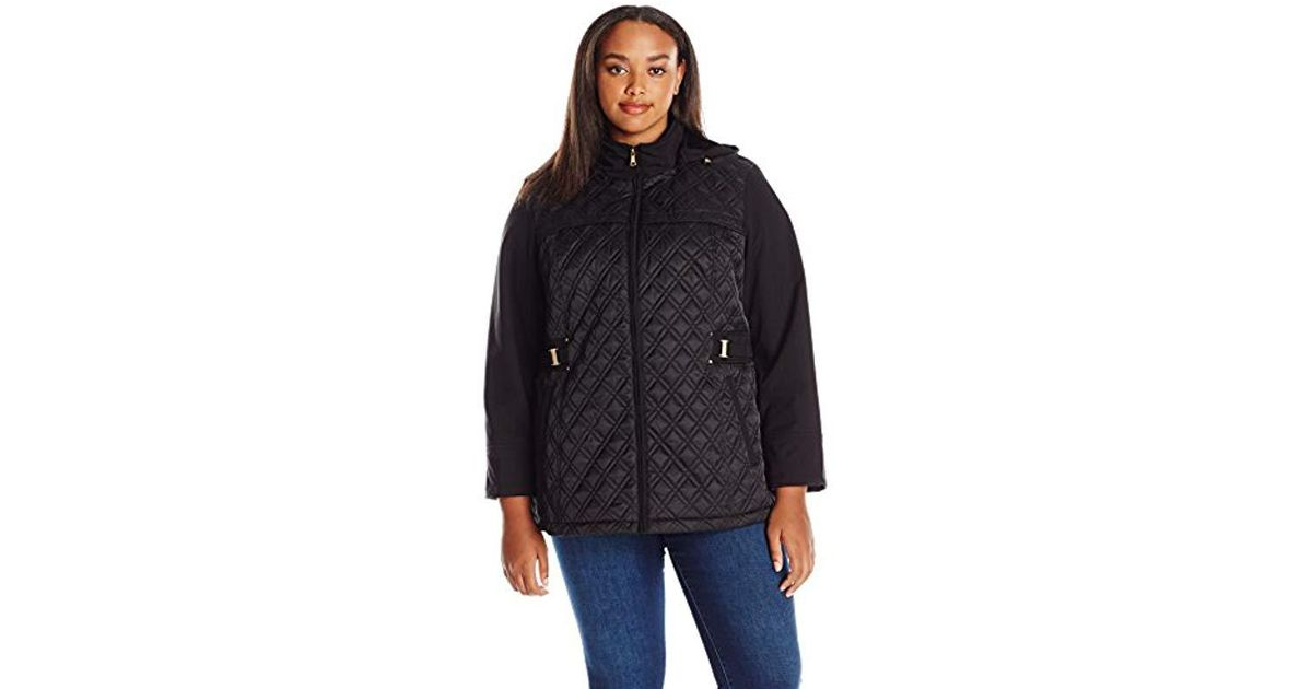 Jones New York Womens Plus Size Quilted Jacket with Detachable Hood