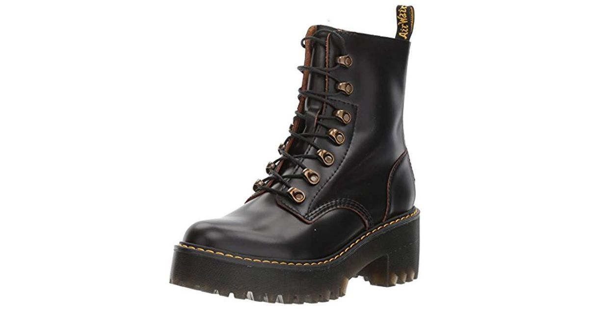 75cc75517f19 Lyst - Dr. Martens Leona Vintage Smooth Boots in Black