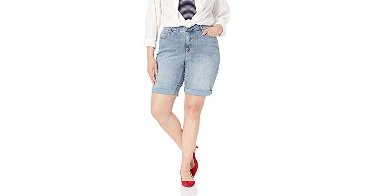 af5deebc615ed Lyst - NYDJ Plus Size Briella Roll Cuff Jean Short In Cool Embrace Denim in  Blue