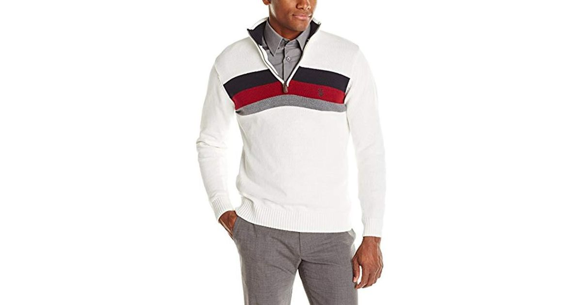 5b72f65d6 Lyst - U.S. POLO ASSN. Striped Half-zip Sweater in White for Men
