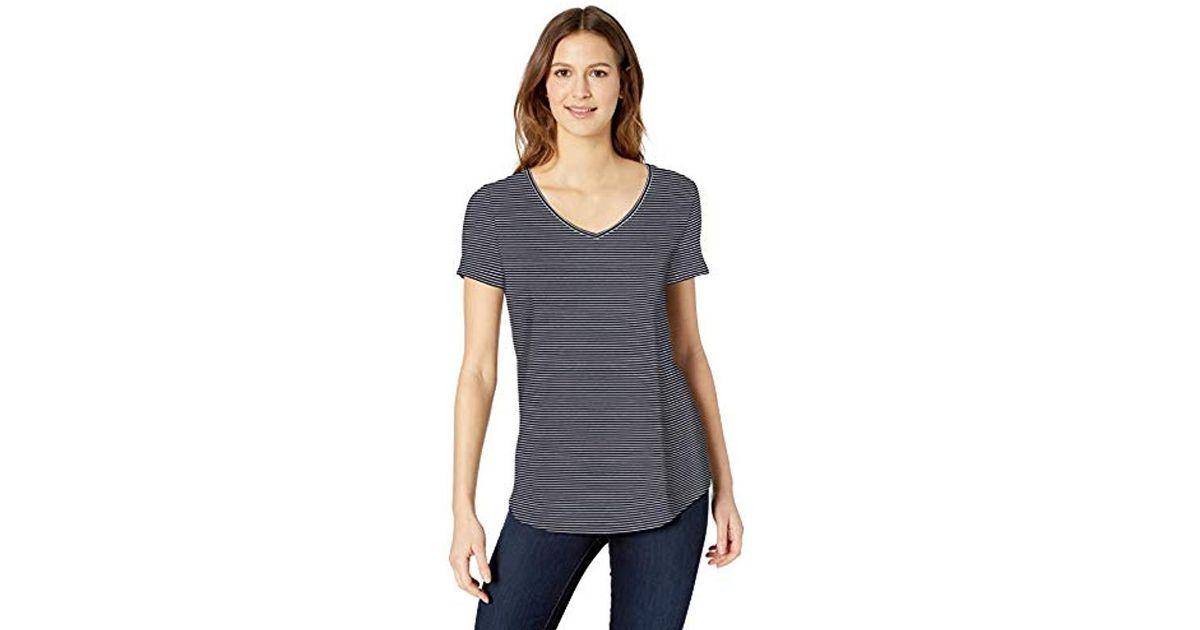b8885d3f6211 Lyst - Amazon Essentials Short-sleeve V-neck Tunic in Blue