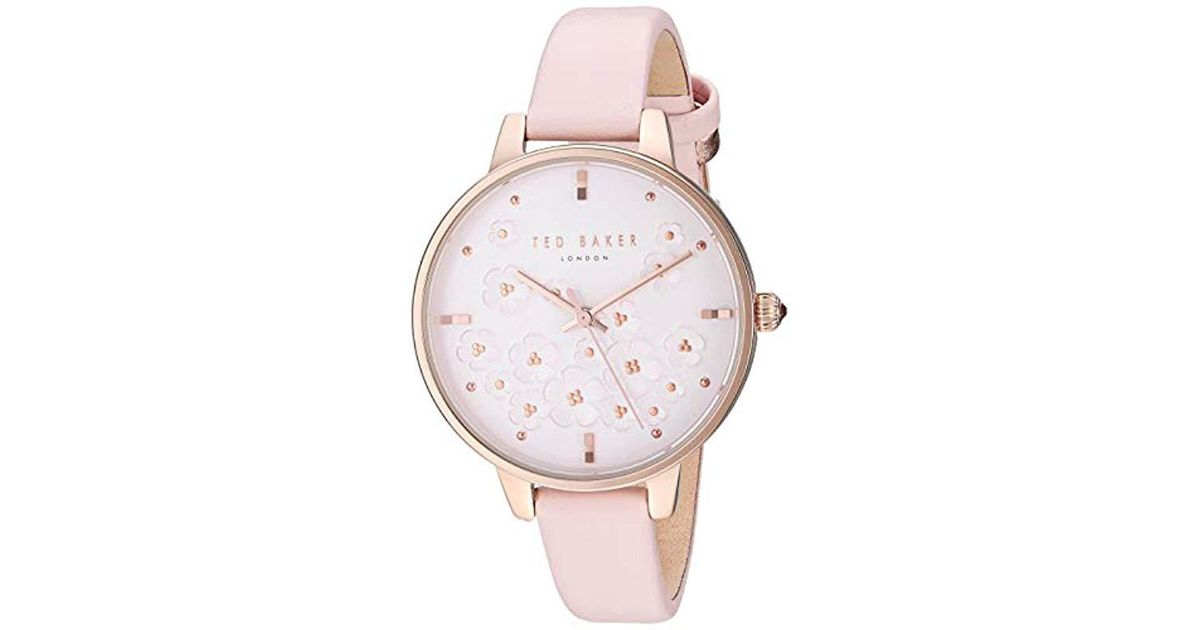 604c1387d Lyst - Ted Baker  kate  Quartz Stainless Steel And Leather Fashion Watch