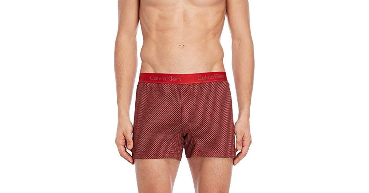 3f6756650ff9 Calvin Klein Boxer Matrix-knit Slim Fit Boxer in Red for Men - Lyst