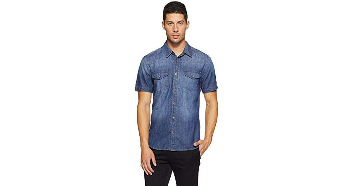 dcdda1c88b Lyst - Guess Western Slim Denim Shirt in Blue for Men