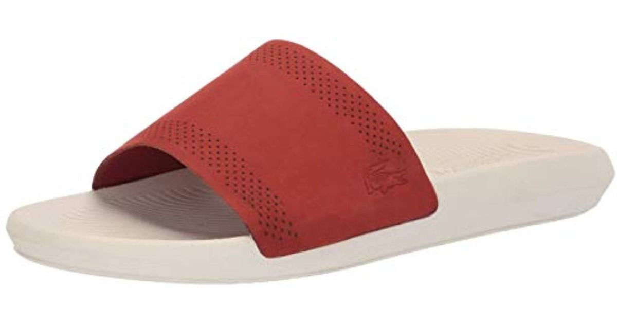 bb682342f Lyst - Lacoste Croco 119 Slide Sandal in Red for Men - Save 43%