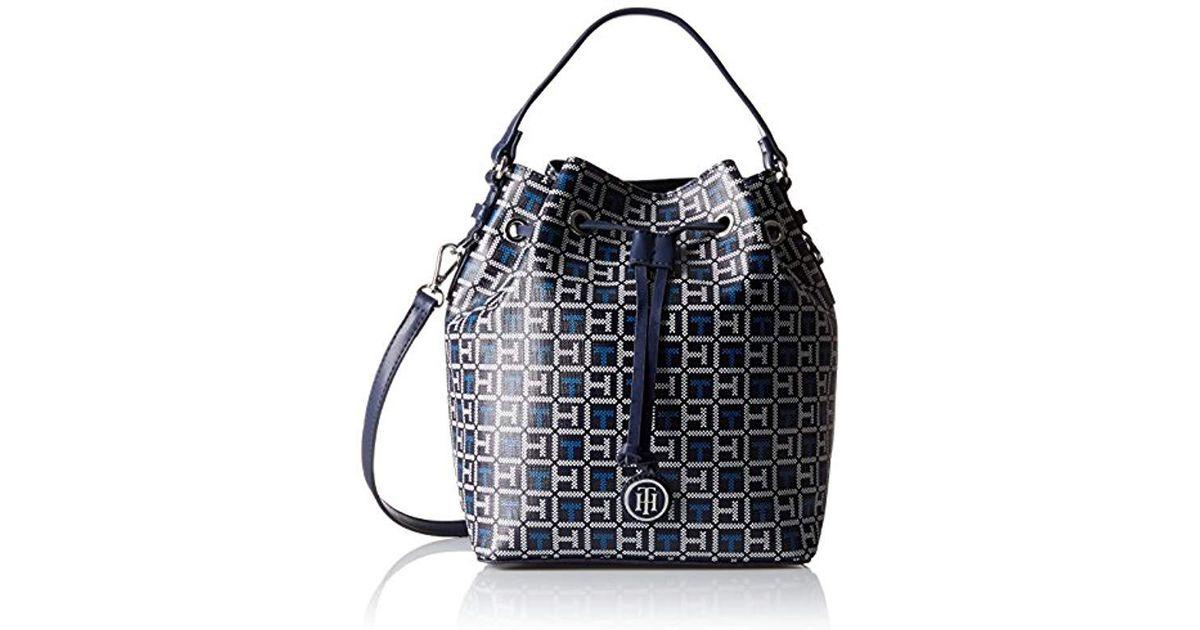 0d23c54e267 Tommy Hilfiger Mara Logo Drawstring Bucket Bag in Blue - Lyst