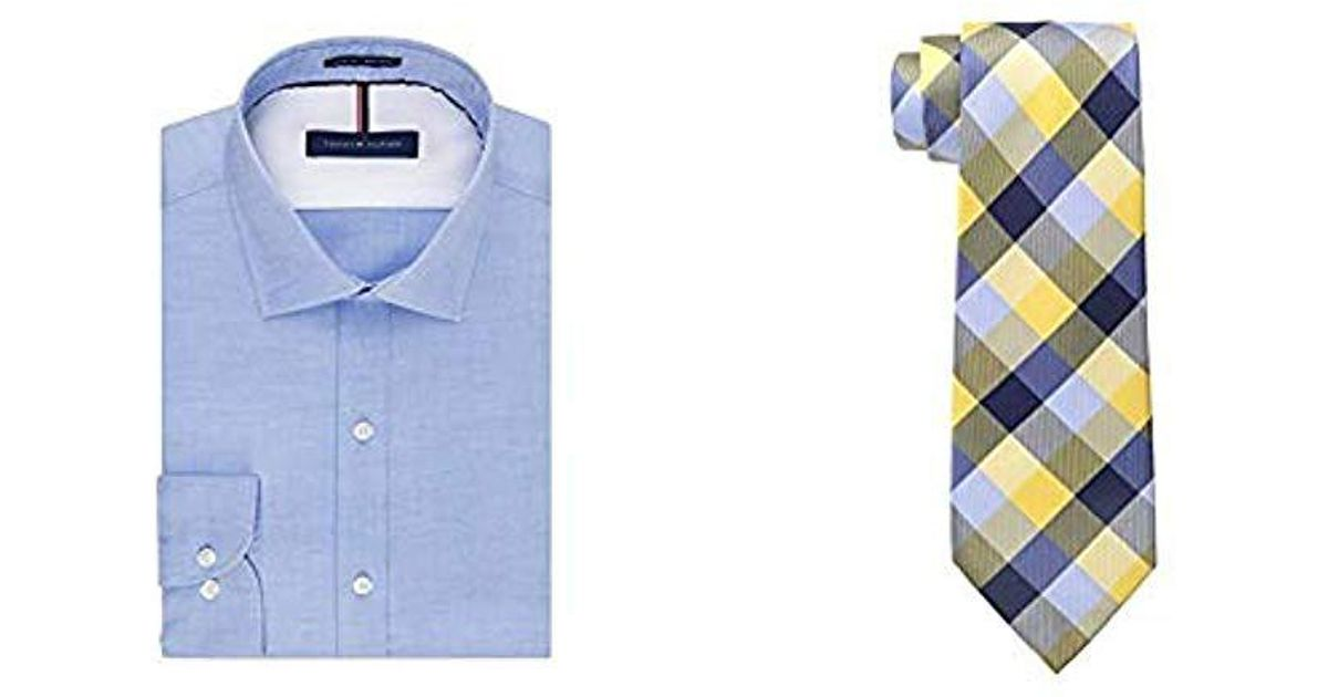 7c825dce Tommy Hilfiger. Men's Blue Dress Shirts Non Iron Slim Fit Solid Spread  Collar