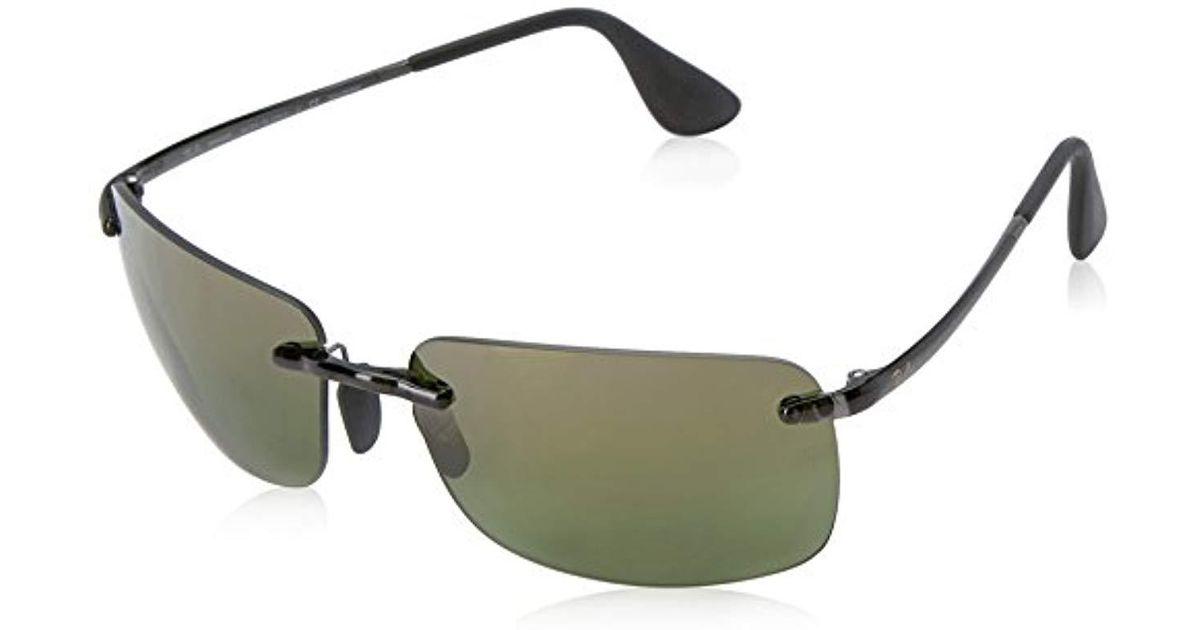 2eb98c3f91 Ray-Ban Rectangle Rimless Sunglasses In Grey Green Polarised Mirror  Chromance Rb4255 621 6o 60 in Black for Men - Lyst