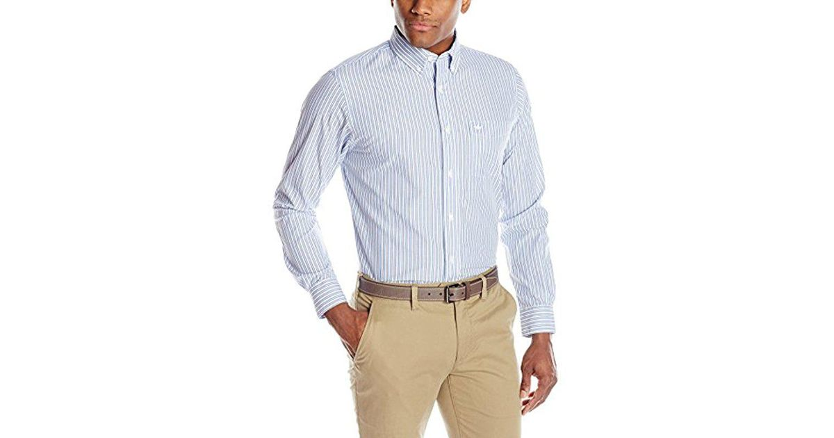 9a99405eabd Lyst - Dockers No Wrinkle Long Sleeve Button-front Shirt in Blue for Men
