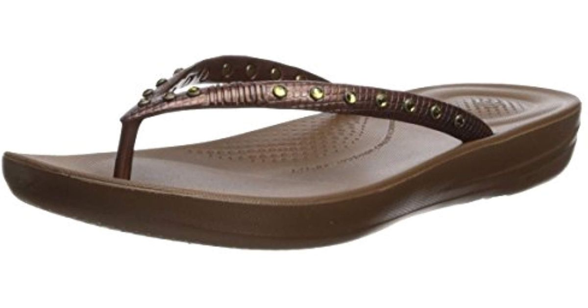 880b470545a Fitflop Iqushion Ergonomic Flip Flops-crystal Slide Sandal Silver in Brown  - Lyst