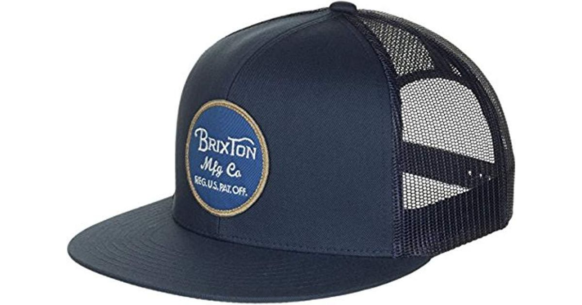 6eb44b00707c6 Lyst - Brixton Wheeler Medium Profile Adjustable Mesh Hat in Blue for Men