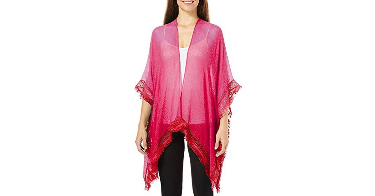 4acc04107 Lyst - Steve Madden Solid Sheer Blouse Kimono Top Cardigan in Red