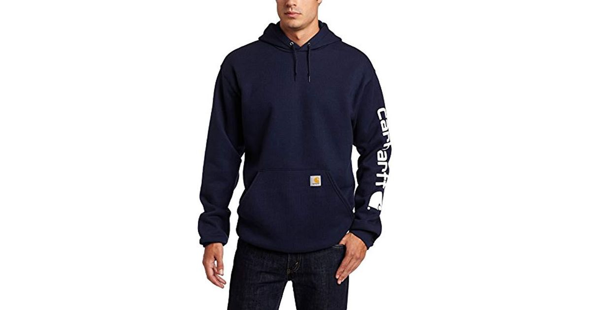 080110afb3d Carhartt Midweight Sleeve Logo Hooded Sweatshirt in Blue for Men - Lyst