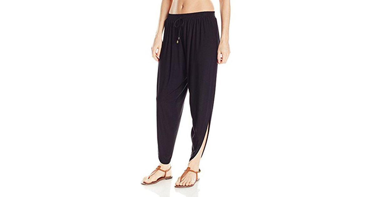 0a877bedb56 Lyst - Laundry by Shelli Segal Solid Draped Cover Up Pant in Black