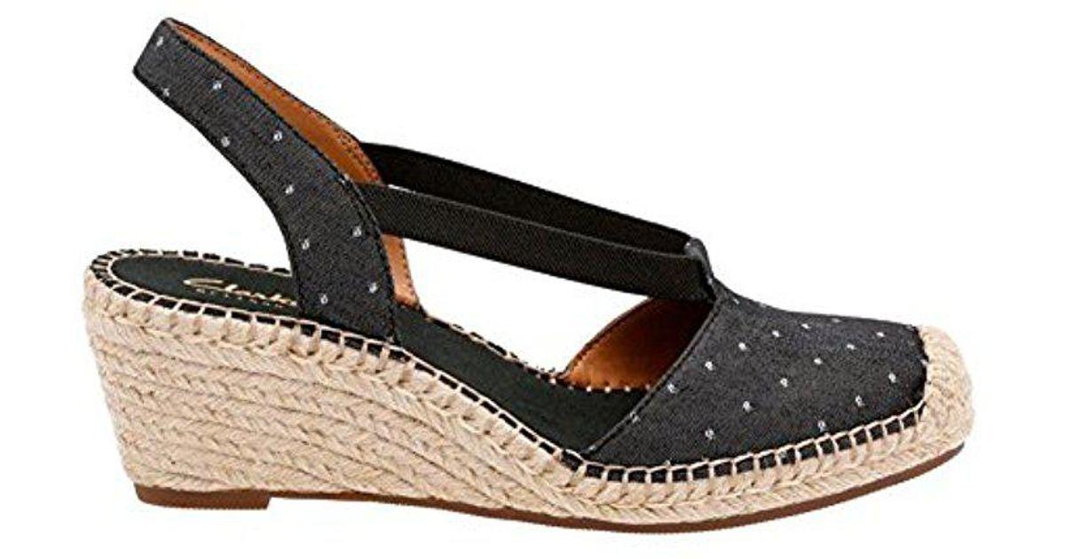11d3f5beafff Lyst - Clarks Petrina Kaelie Espadrille Wedge Sandal in Black - Save 51%