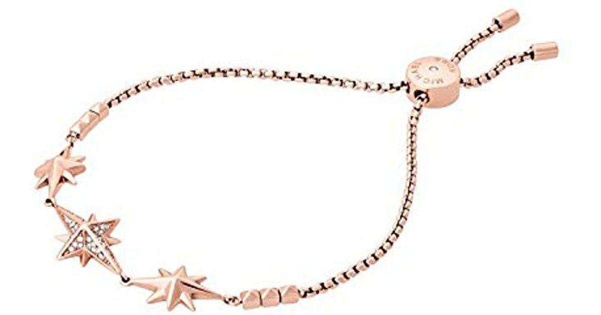 be2589279da2 Lyst - Michael Kors Brilliance Starburst Pave Rose Gold-tone Slider Bracelet  in Metallic
