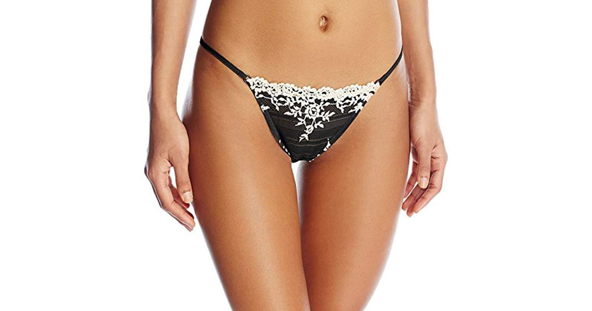 da89e164050e Wacoal Embrace Lace Thong Pant in Black - Lyst