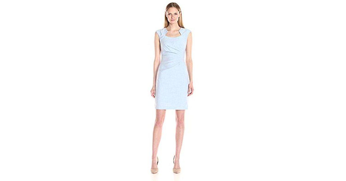 ec17ddd5a9 Lyst - Calvin Klein Cap-sleeve Side-ruched Sheath Dress in White
