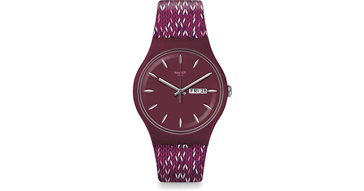 Swatch Quarz Suov705 Purple Damen Armband Analog Uhr Mit Lyst Silikon 1ucFKJTl35