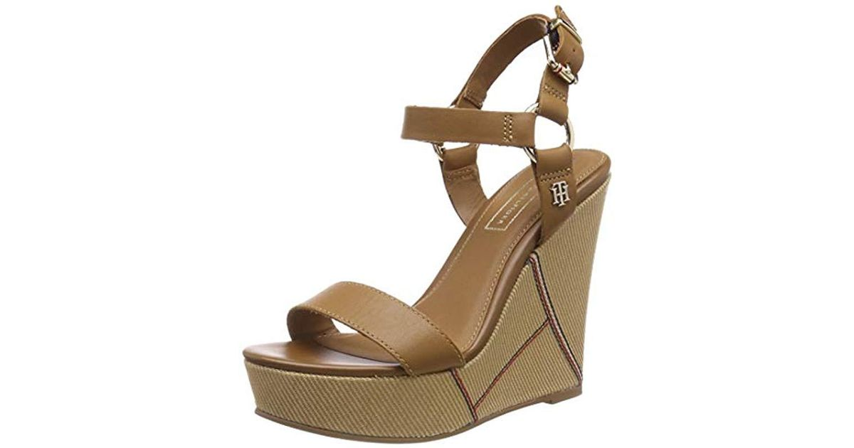 311922779 Tommy Hilfiger  s Elevated Leather Wedge Sandal Platform in Brown - Save 1%  - Lyst