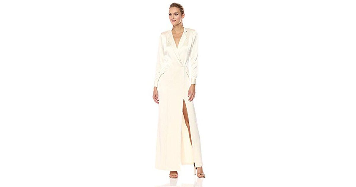 Lyst - Halston Heritage Long Sleeve Shirt Dress Gown in Natural