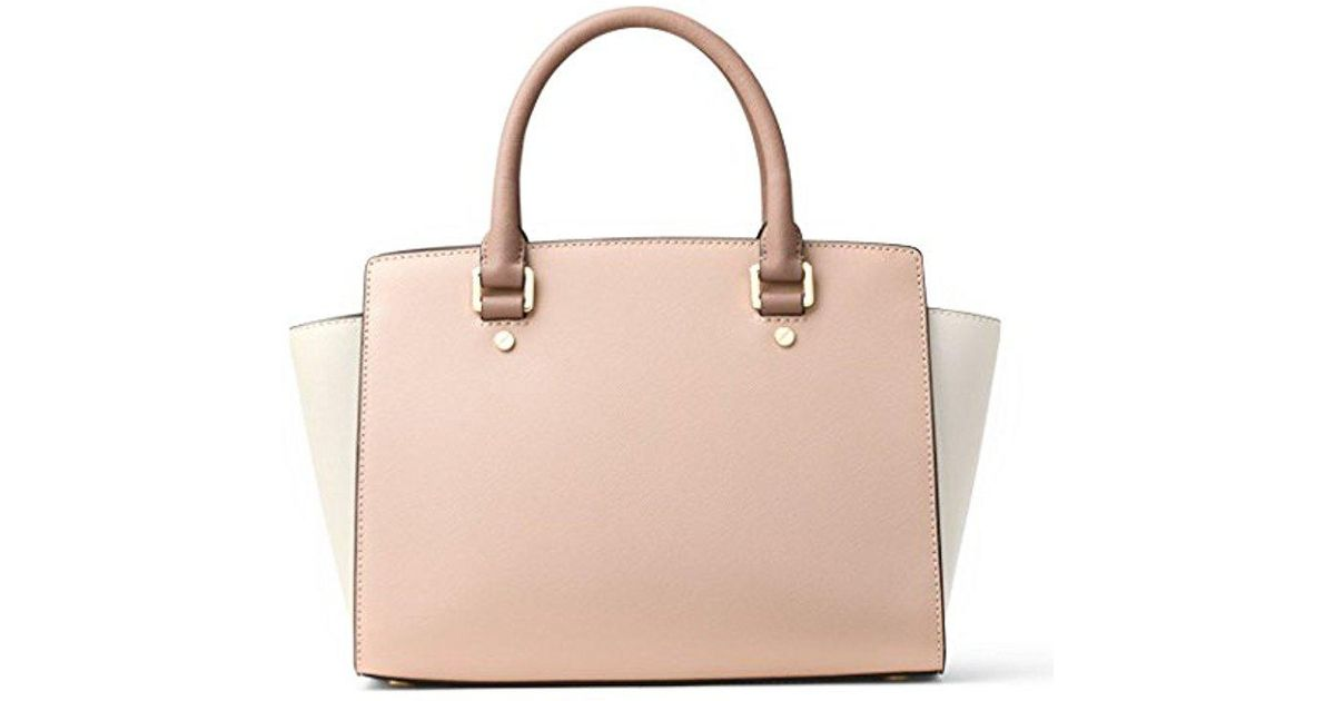 e9ee8a5e531b ... best lyst michael michael kors michael kors selma medium top zip satchel  in pink 82b34 b9a3c