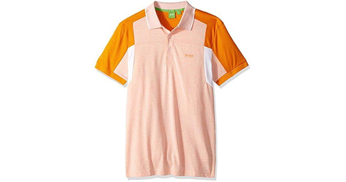 da390116c Lyst - BOSS Boss Green Paule 6 Short Sleeve Polo Shirt in Orange for Men