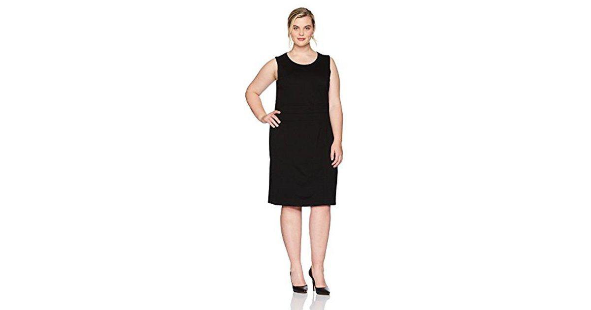 8310c609a0c1 Lyst - Kasper Plus Size Jewel Neck Solid Sheath Dress in Black - Save 54%