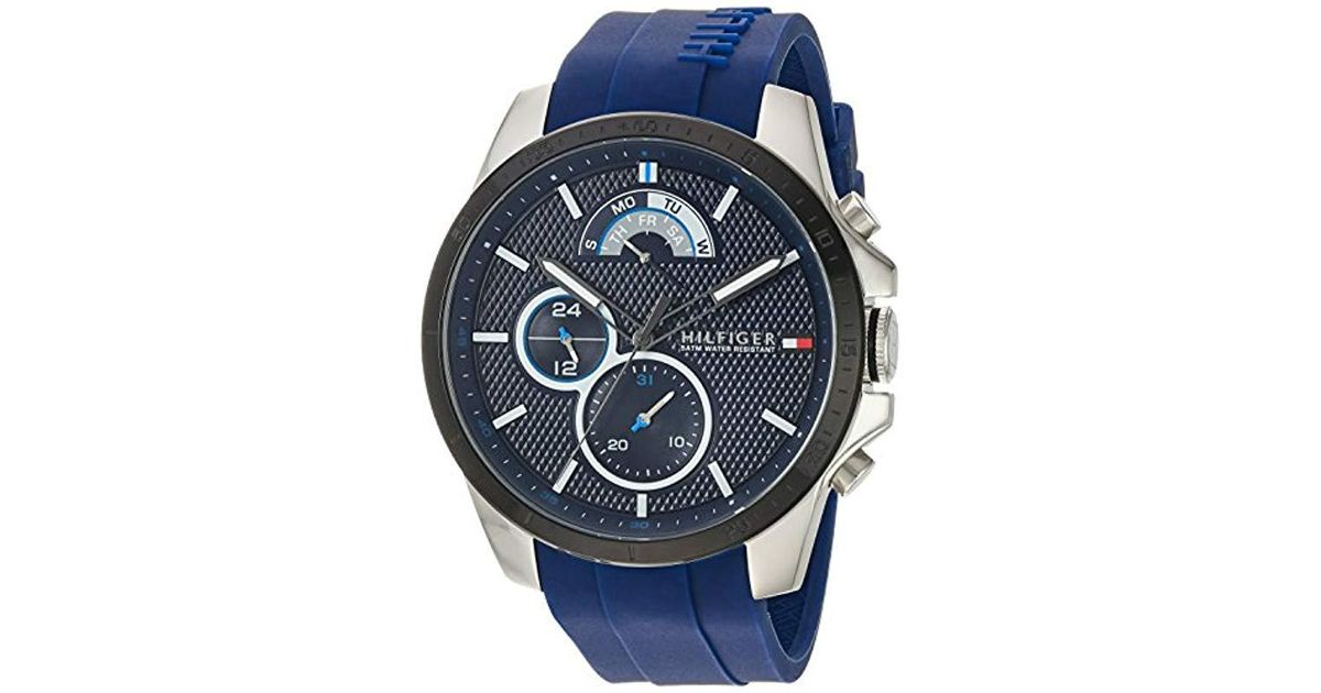 7889f25d Tommy Hilfiger 'cool Sport' Quartz Stainless Steel And Silicone Casual Watch,  Color:blue (model: 1791350) in Blue for Men - Lyst