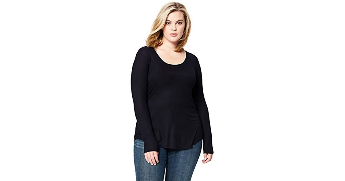 5dbae43ac307af Lyst - Daily Ritual Plus Size Ribbed Long-sleeve Scoop Neck Shirt in Blue