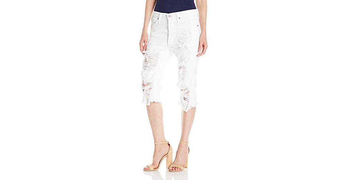 7e98e9bb6 Lyst - James Jeans Chopper Distressed Boyfriend Knee Short In Destroyed  White in White
