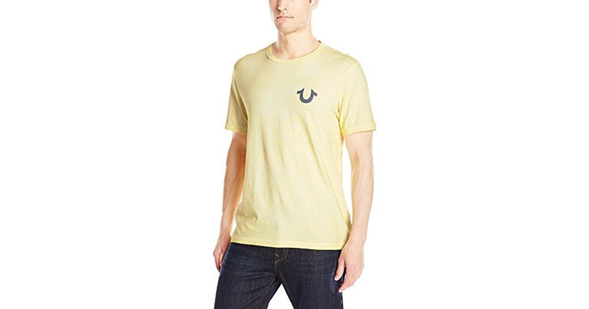 35b79447 True Religion Double Puff Buddha Tee in Yellow for Men - Lyst