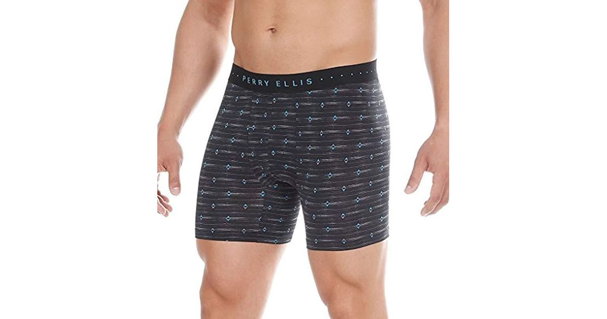 3a22eecff219 Lyst - Perry Ellis Diamond Axis Luxe Boxer Brief in Black for Men