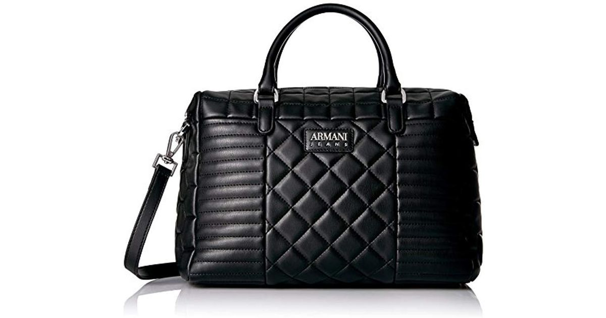 9686326895 Lyst - Armani Jeans Faux Quilted Boston Bag in Black