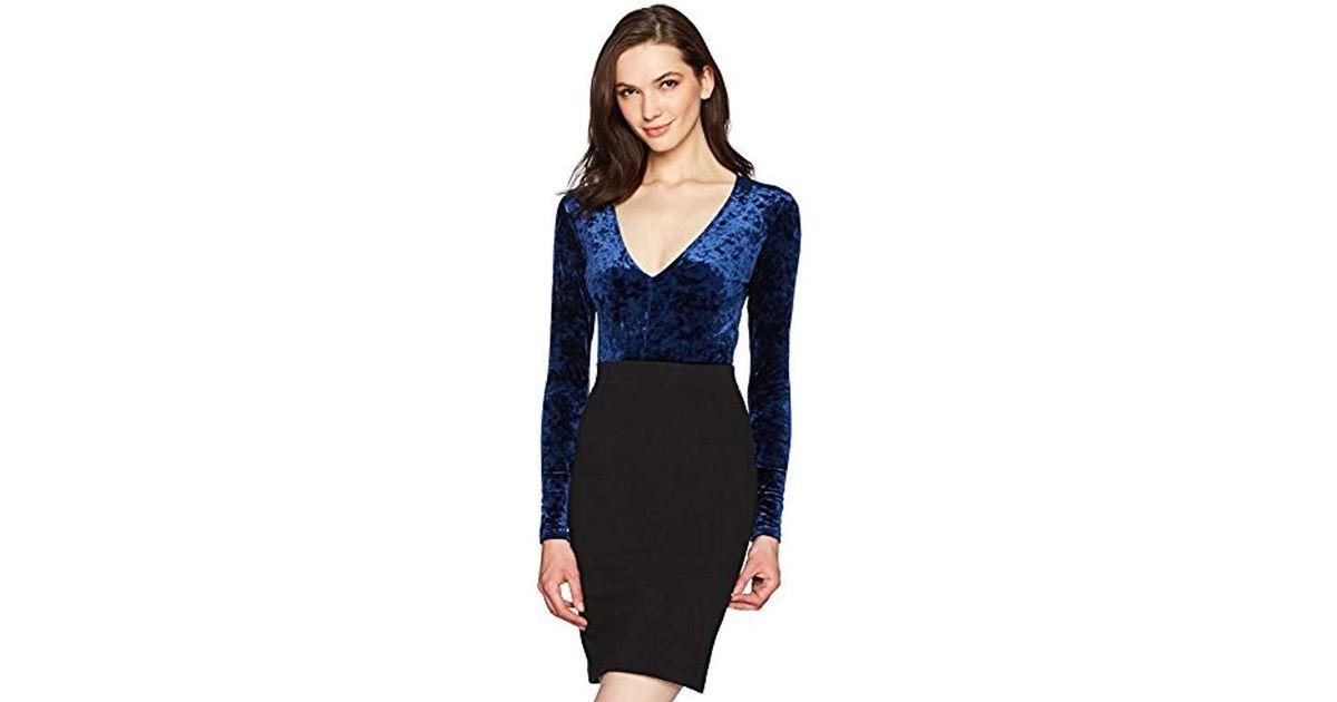 Lyst - Only Hearts Velvet Underground Long Sleeve Bodysuit in Blue 1576446e9