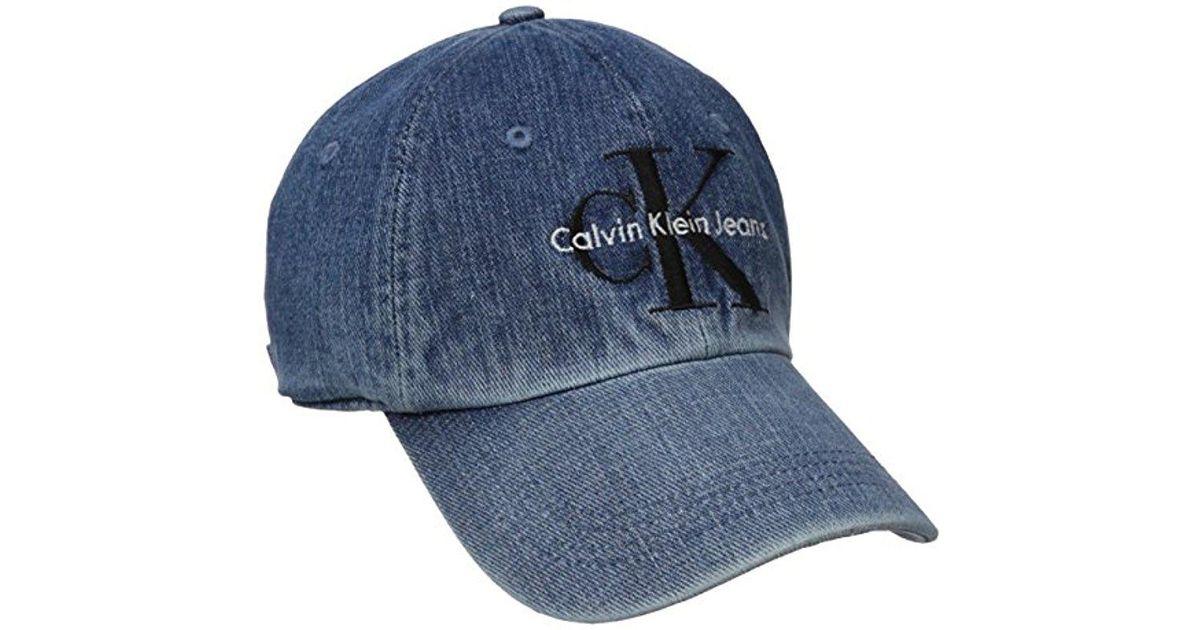 Lyst - Calvin Klein Jeans Reissue Logo Baseball Dad Hat in Blue for Men 1dba252765f