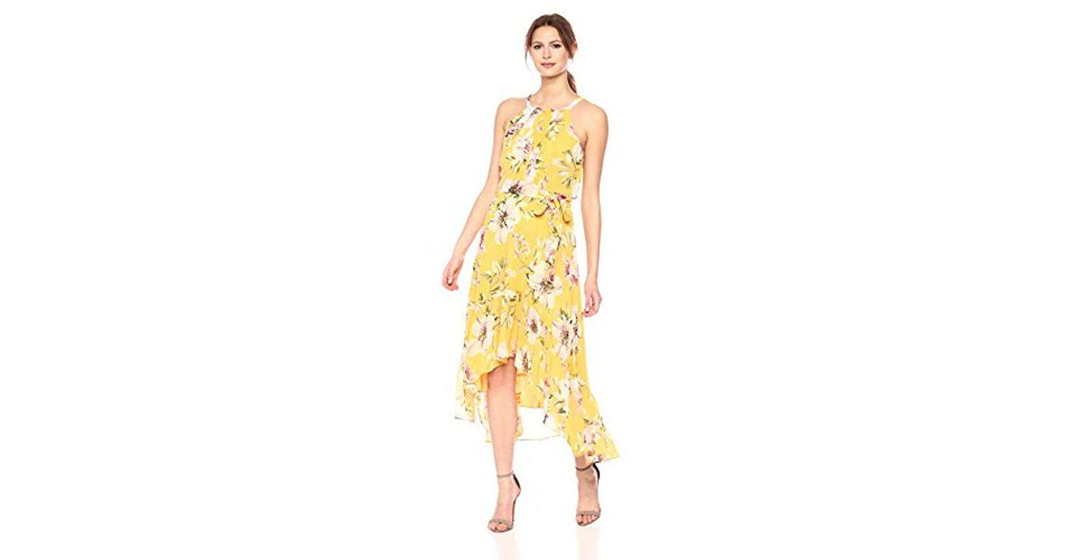 e6c3ca9a590 Vince Camuto Floral Chiffon Maxi Dress in Yellow - Lyst