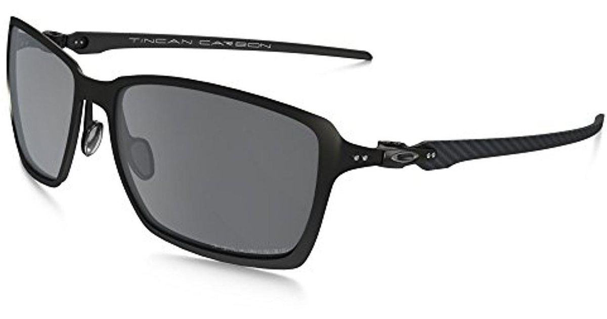 4b1e566df2f42 Lyst - Oakley Tincan Carbon Polarized Iridium Rectangular Sunglasses in  Black