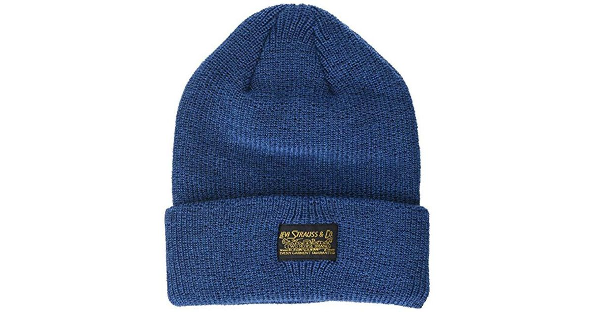 64e2c5b92a71e Levi s 2 Horse Logo Turn Up Beanie in Blue for Men - Save 52% - Lyst