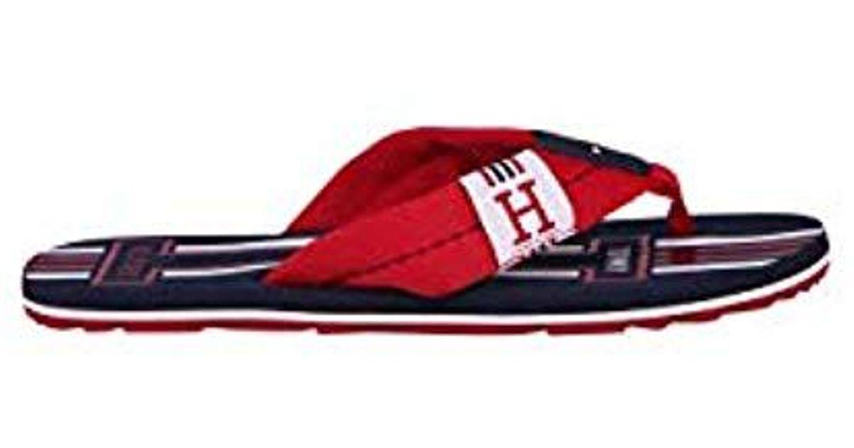 f3750d30320 Tommy Hilfiger Badge Textile Beach Sandal Flip Flops in Red for Men - Lyst