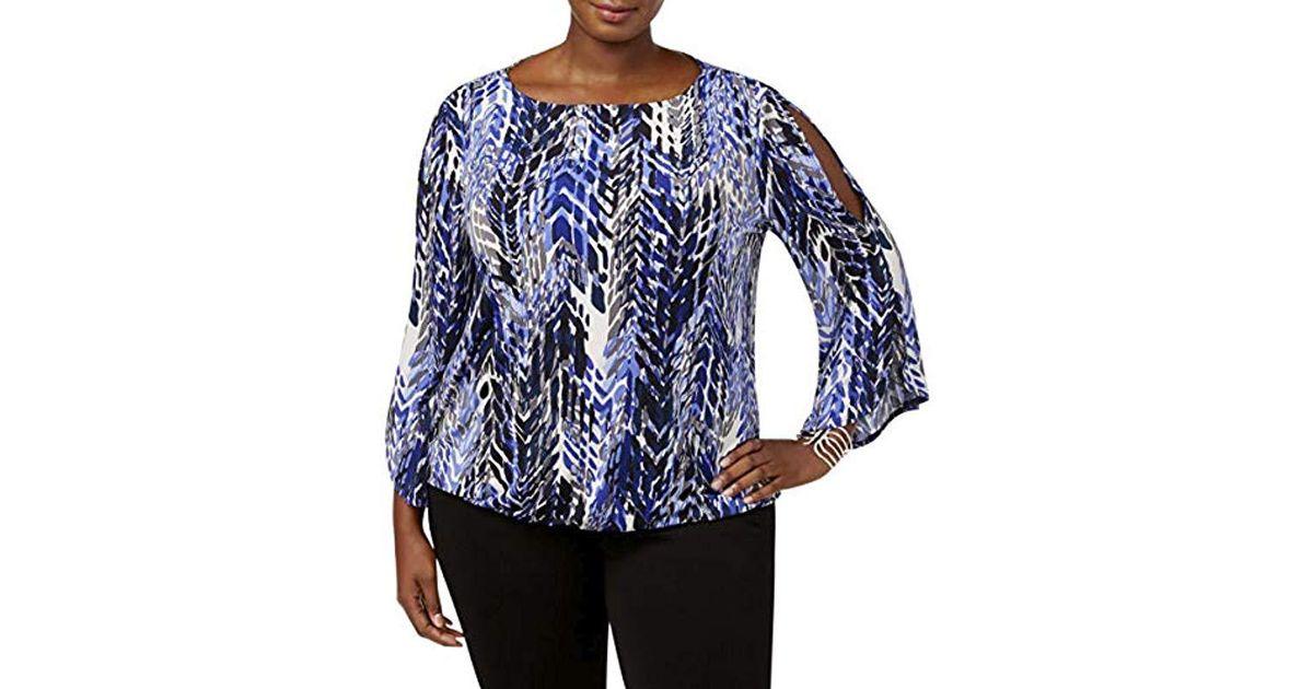 4fe3fde0da68b0 Lyst - Kasper Plus Size Flared Long Sleeve Cold Shoulder Blouse in Blue