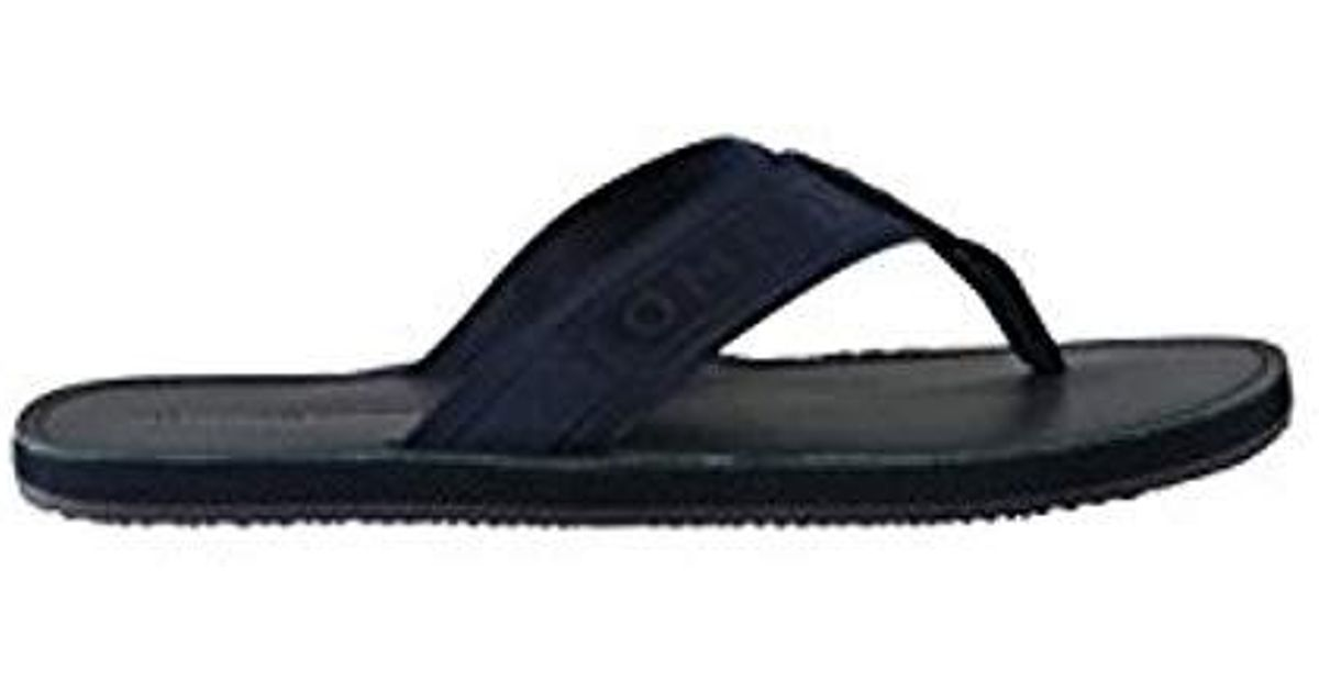 2e24199f5073 Tommy Hilfiger Jacquard Th Leather Beach Sandal Flip Flops in Blue for Men  - Lyst