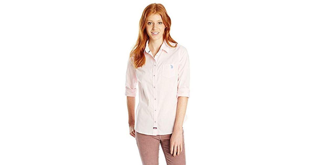 5d08c1dcedd Lyst - U.S. Polo Assn. Juniors  Long Sleeve Classic Solid Poplin Woven  Shirt in White