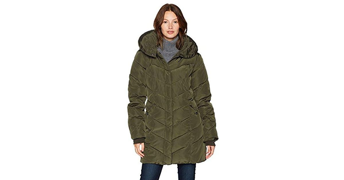 9526edd93be Lyst - Steve Madden Long Chevron Quilted Outerwear Jacket in Green