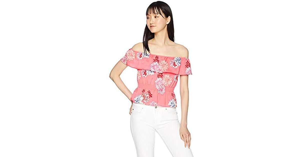 e9e737d495dd86 Lyst - BB Dakota Jayna Off The Shoulder Print Top in Pink - Save 7%