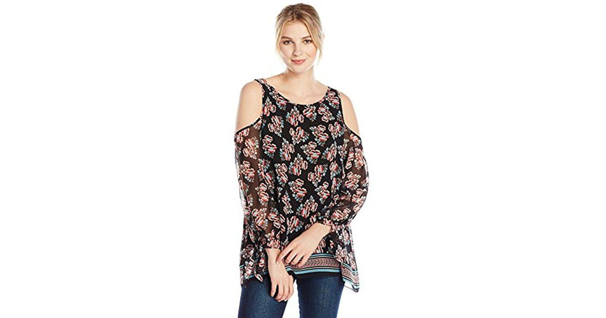 21750be6940 Lyst - Lark & Ro Long Sleeve Cold Shoulder Printed Crimped Blouse in Black
