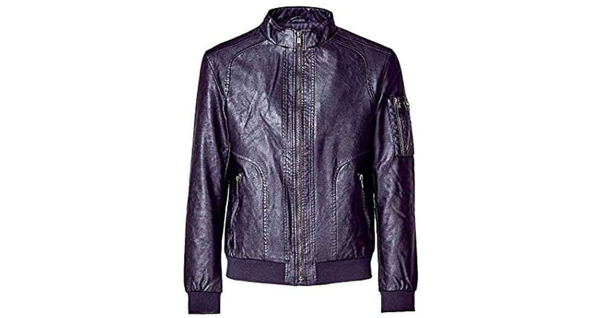 miglior servizio 30fb4 c9c5c Guess - Black Giubbotti Garment Dye Eco-leat Bomber Jacket for Men - Lyst