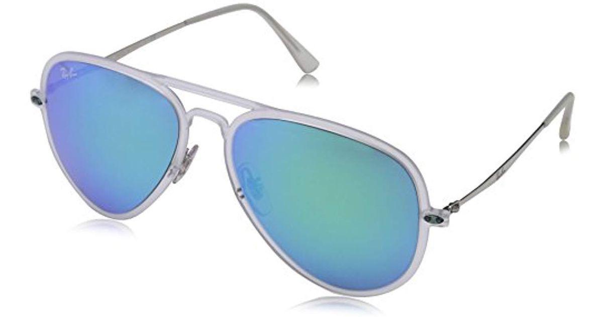b70ba9fd9b Ray-Ban Tech Light Ray Aviator Sunglasses In Matte Transparent Green Blue  Mirror Rb4211 646 55 56 in Blue for Men - Lyst