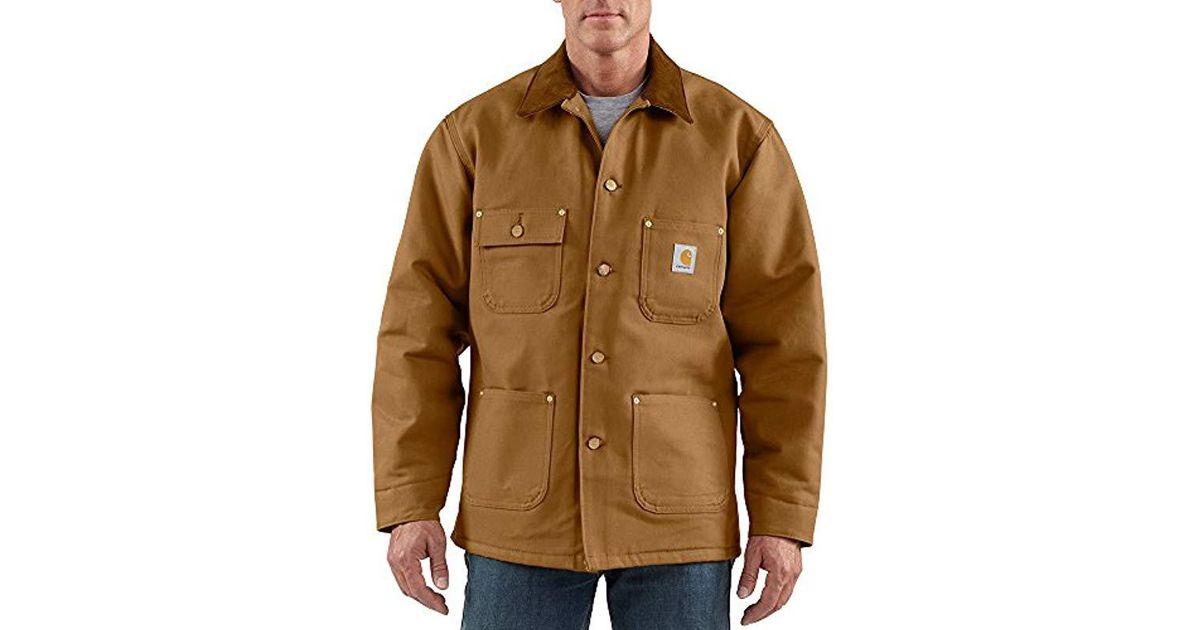2f376c4995dc Lyst - Carhartt Duck Chore Coat Blanket Lined C001 in Brown for Men